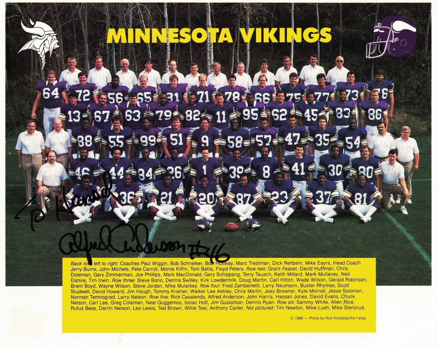 Image for 1986 Minnesota Vikings Team Photo [signed by Alfred Anderson]