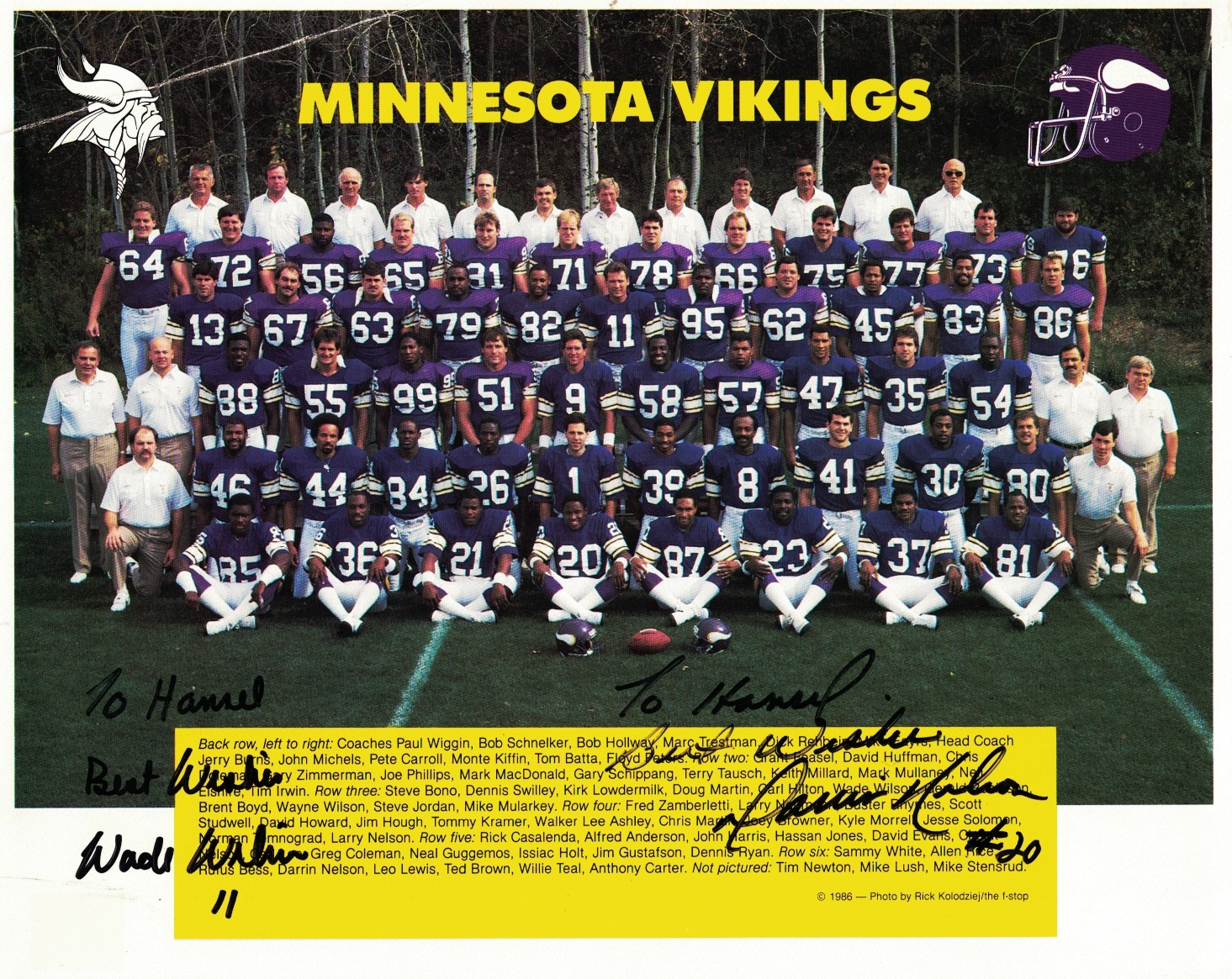 Image for 1986 Minnesota Vikings Team Photo [signed By Wade Wilson And Darrin Nelson]