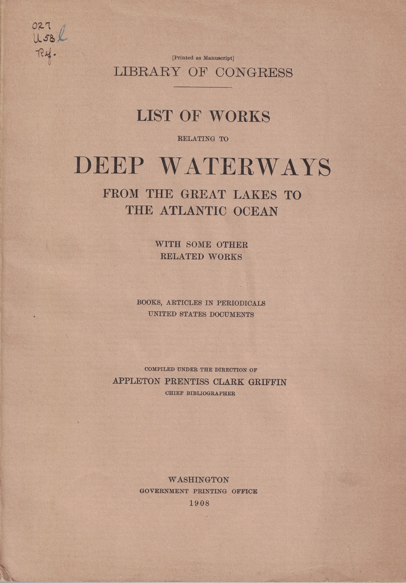 Image for List of Works Relating to Deep Waterways from the Great Lakes to the Atlantic Ocean, with Some Other Related Works (Library of Congress)